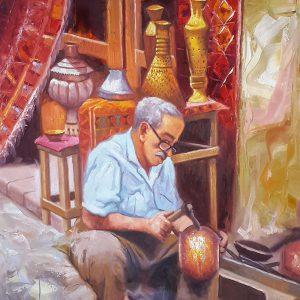 رسم تشكيلي عراقي لحرفي في سوق الصفافير Original Iraqi painting