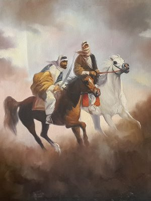 Original Iraqi painting of Arabian Hourses رسم تشكيلي عراقي خيول عربية