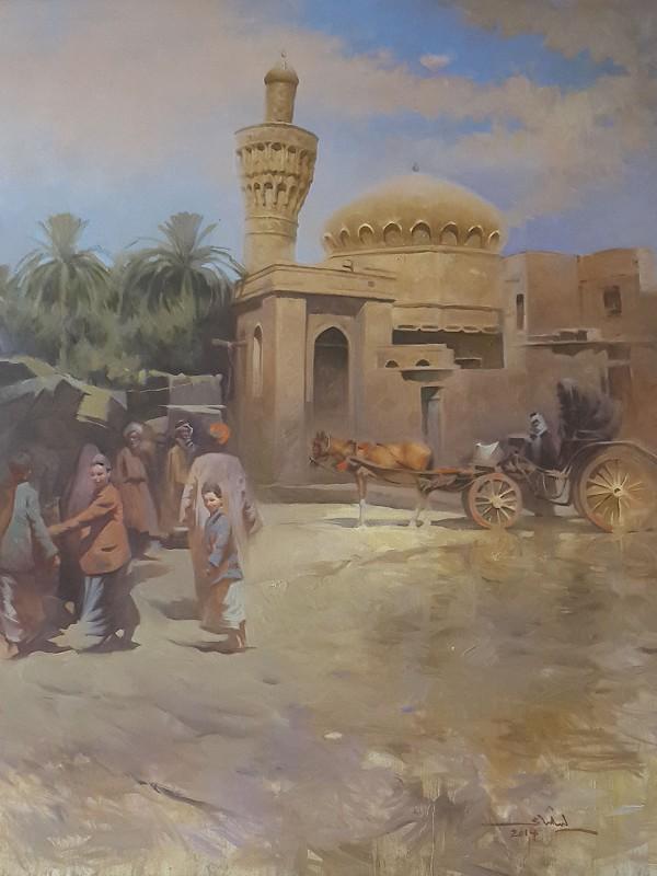 Original Iraqi painting رسم تشكيلي عراقي لجامع الخلفاء في الشورجة