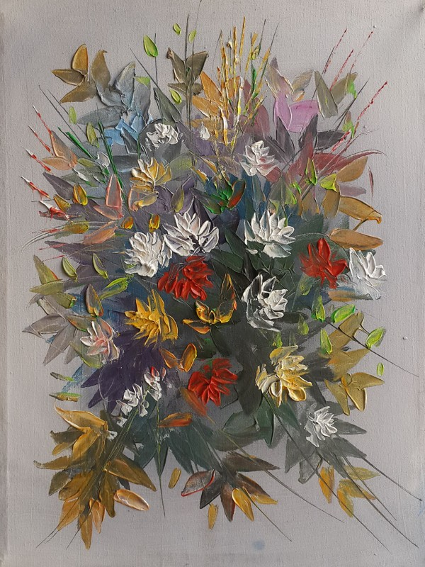 Flowers oil painting رسم تشكيلي عراقي