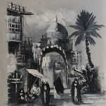 Black and White Original Painting – Old Baghdad