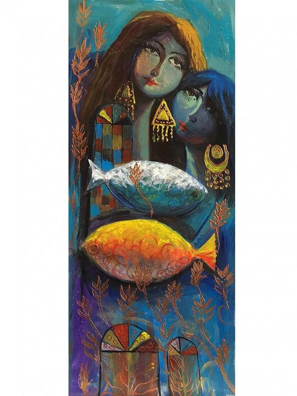 Secret Garden Doors – 30 x 55cm Original Iraqi painting.