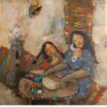 Hajer Looks on – 70 x 70cm Original painting.