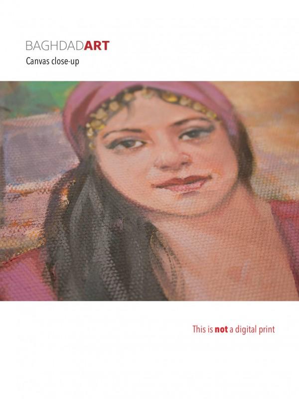 Close-up picture of the canvas صورة مقربة للوحة