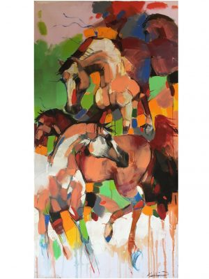 Time Stallions 60 x 100 cm Original Modern painting