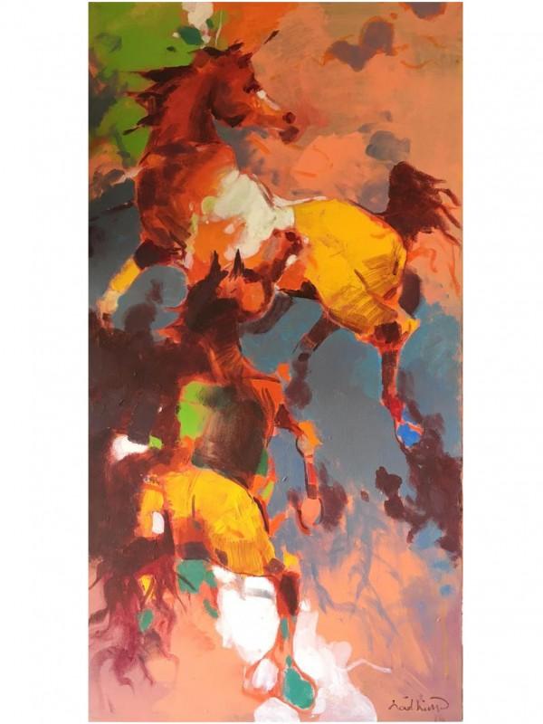 Heating Land - 60 x 100 cm Original Modern painting