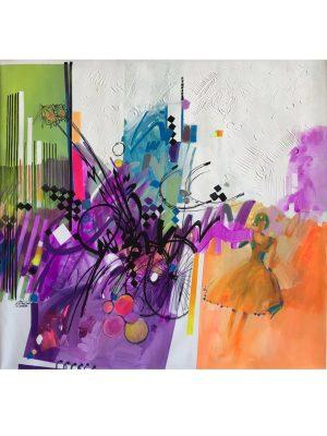 Torn Between - 70 x 70 cm, Original Modern painting