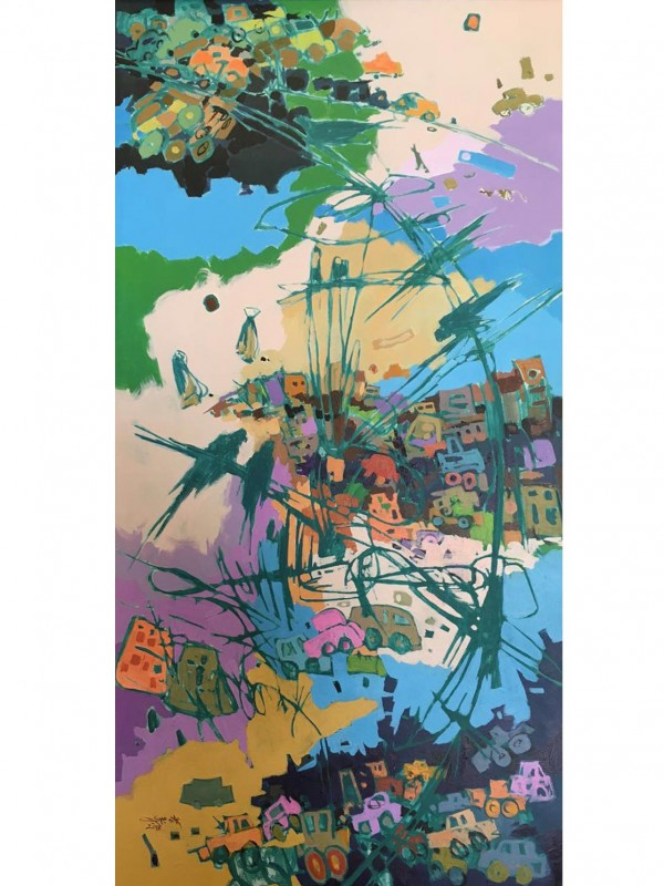Canteens In Colors 60 x 120 cm Original Modern painting