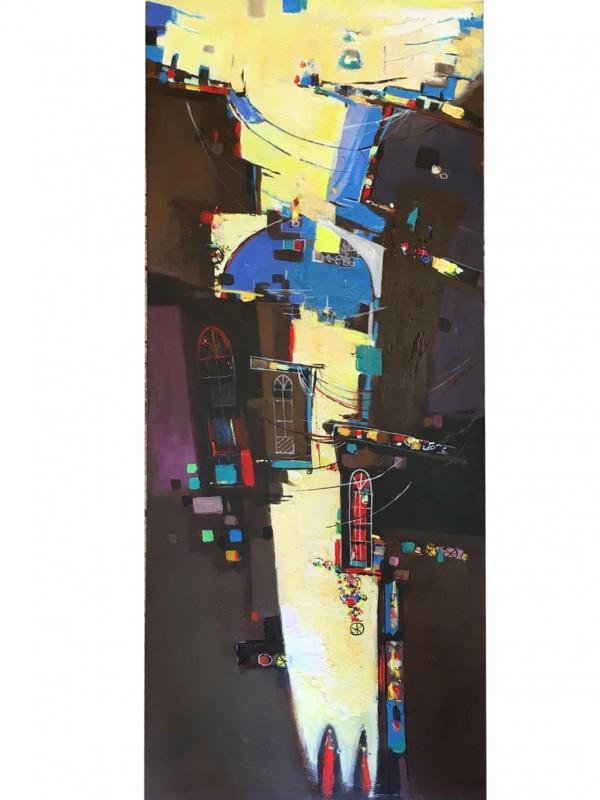 Love Breaking Through the Dark – 45 x 110 cmOriginal Modern painting