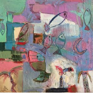 Upstream Crossings - 85 x 85 cmOriginal Modern painting