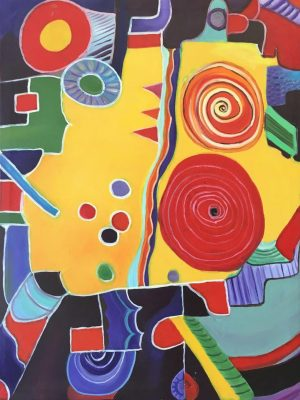 Circles of Consciousness a la Miro - 60 x 80 cm Original Modern painting