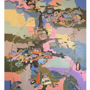 Overcoming Barbwire - 80 x 100 cm Original Modern painting