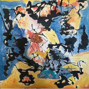 Darkness Between Us - 95 x 95 cm Original Modern painting